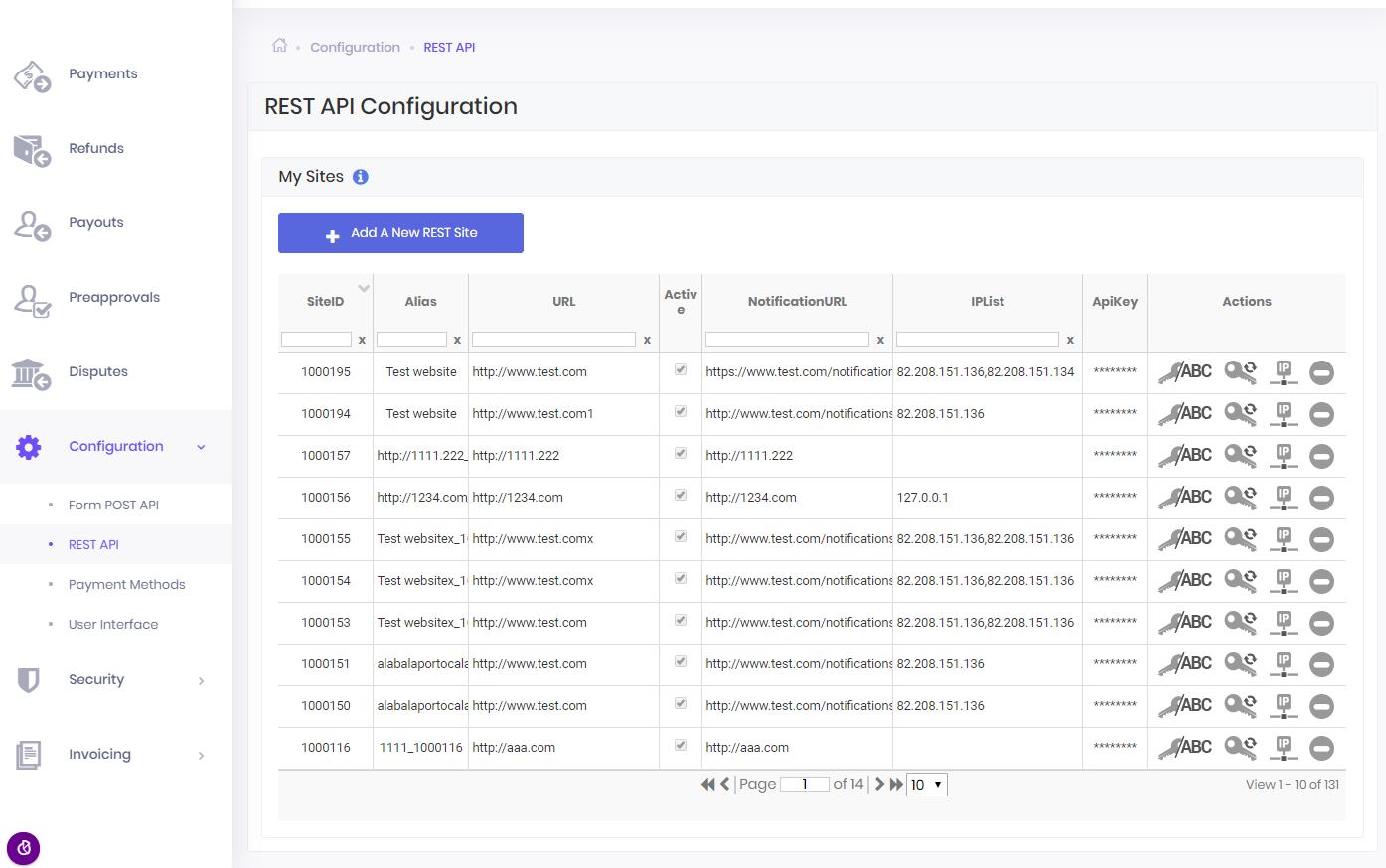 1 Merchant Sites Configuration