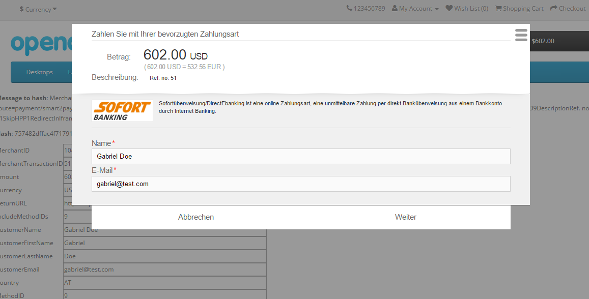 Image 9 - Smart2Pay payment page with Redirect in Iframe set to Yes