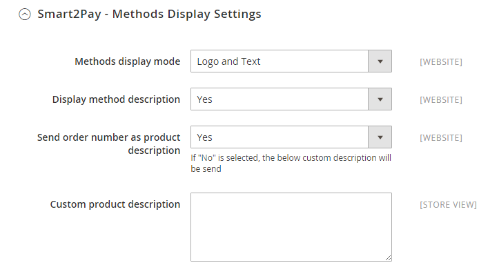 1 Smart2Pay - Methods Display Settings