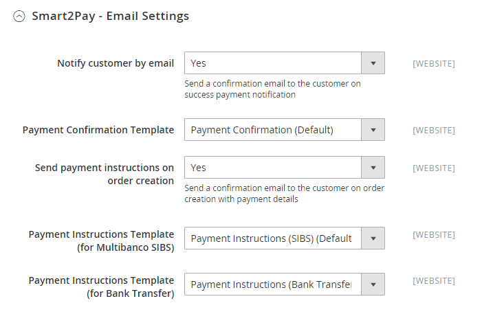 1 Smart2Pay - Email Settings