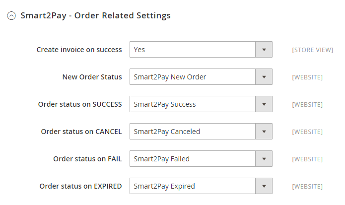 1 Smart2Pay - Order Related Settings