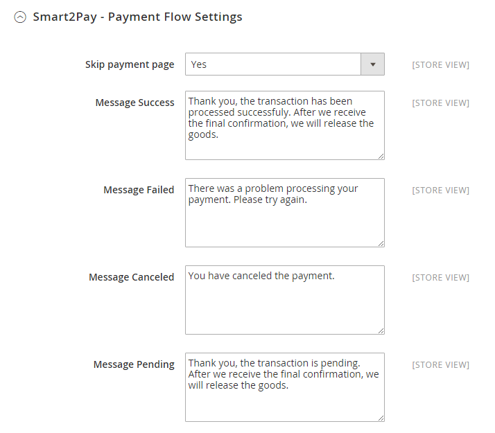 1 Smart2Pay - Payment Flow Settings