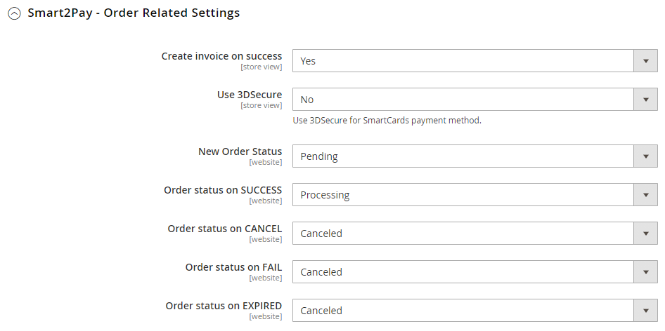 4 Order related settings