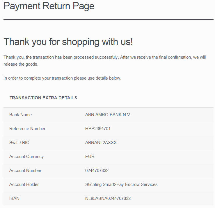 1 Payment return page when the redirection status is a success