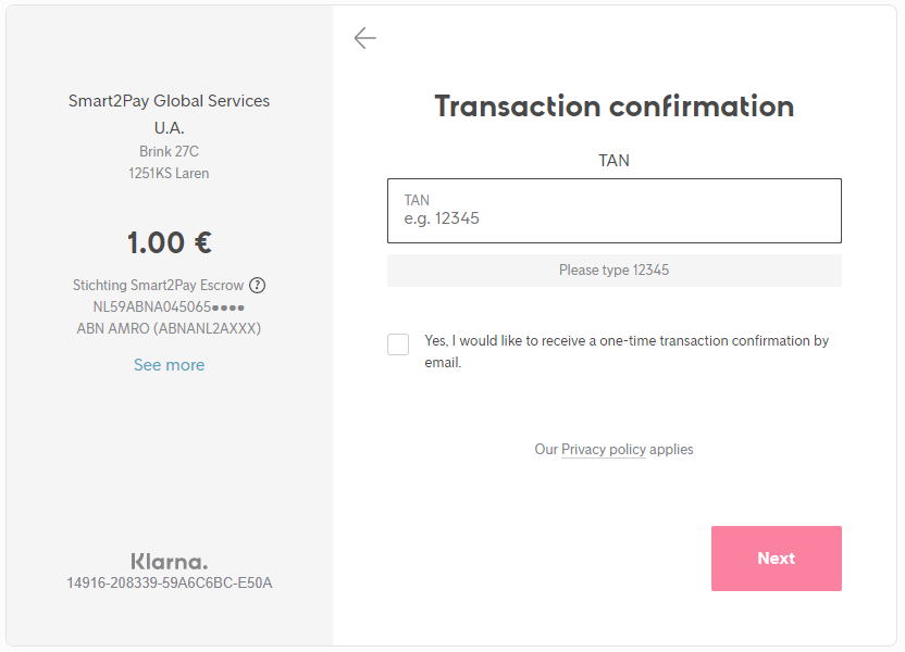 1 Transaction confirmation
