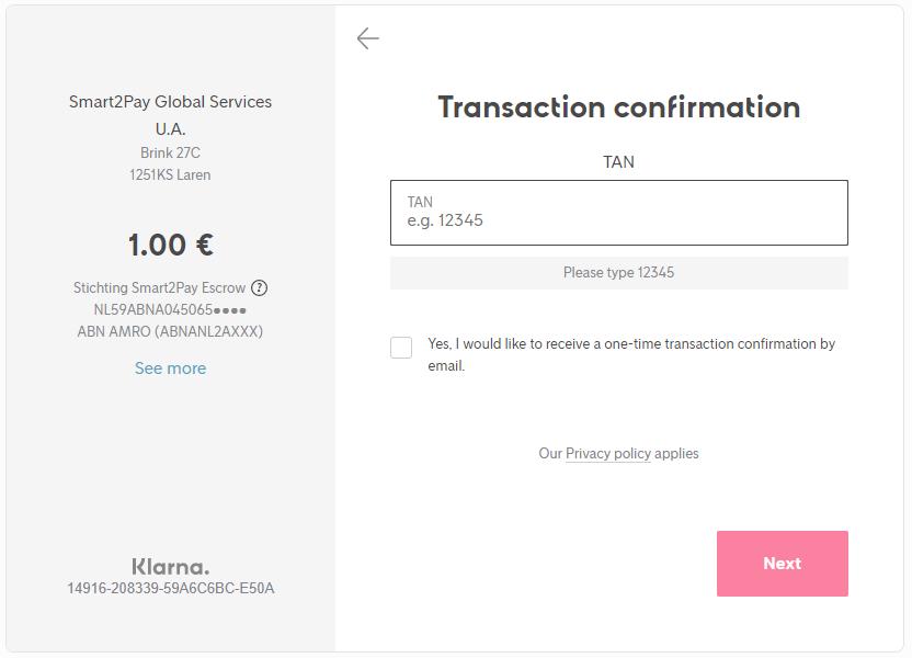 1 Transaction confirmation