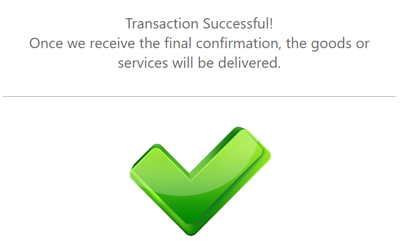 1 Return page when the redirection status is Success