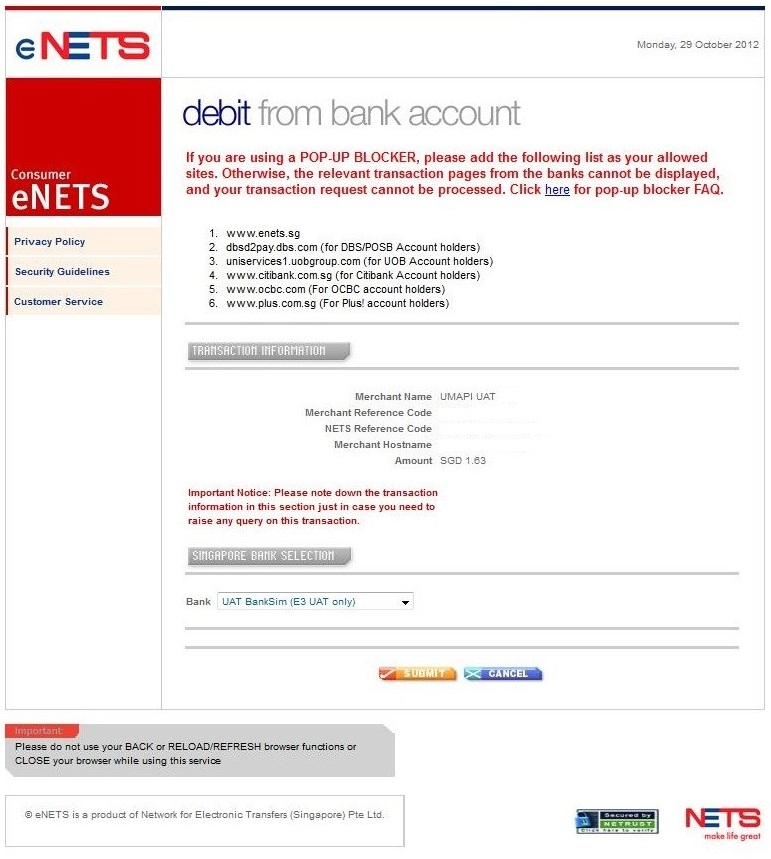 1 Select bank