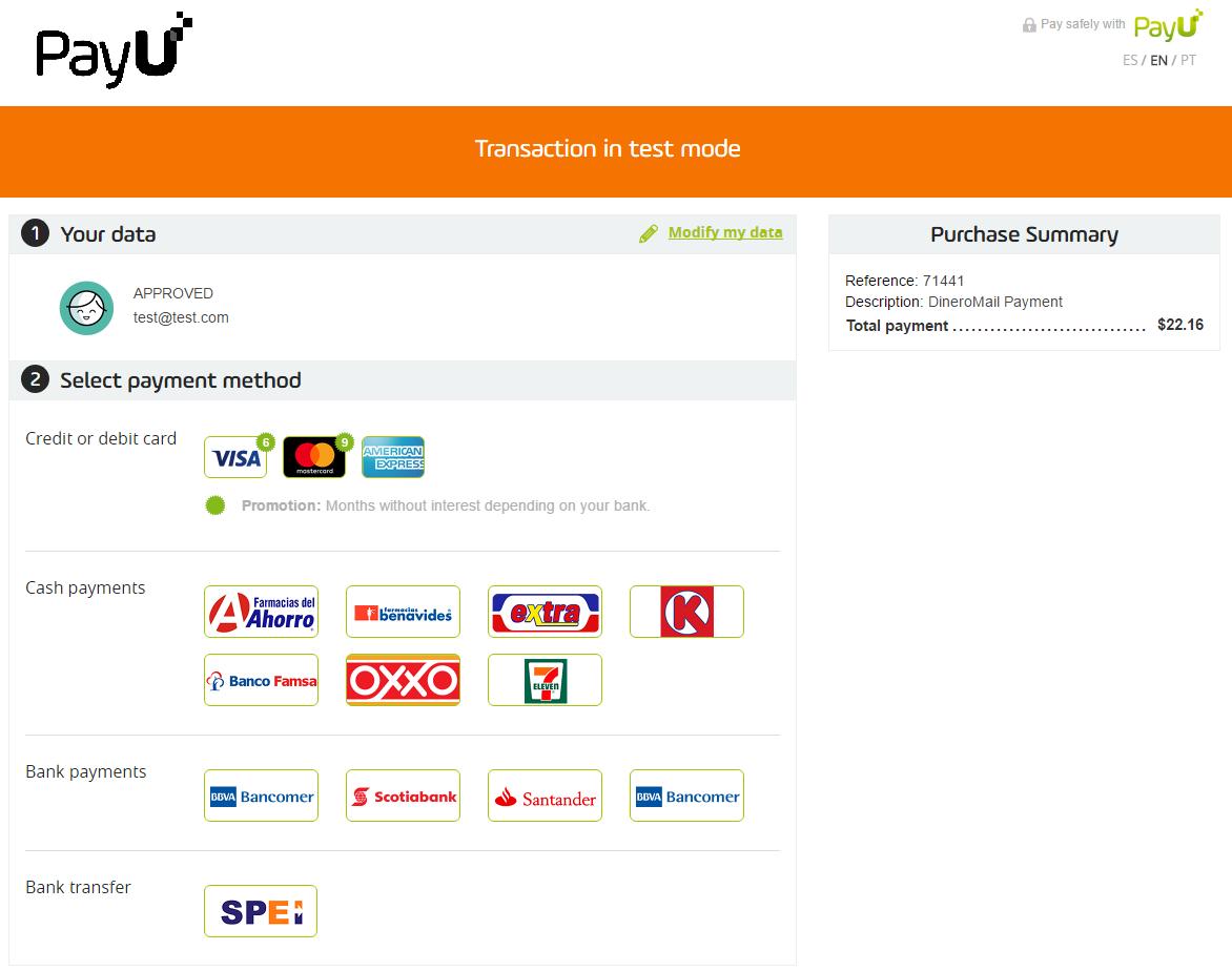 1 Choose payment method