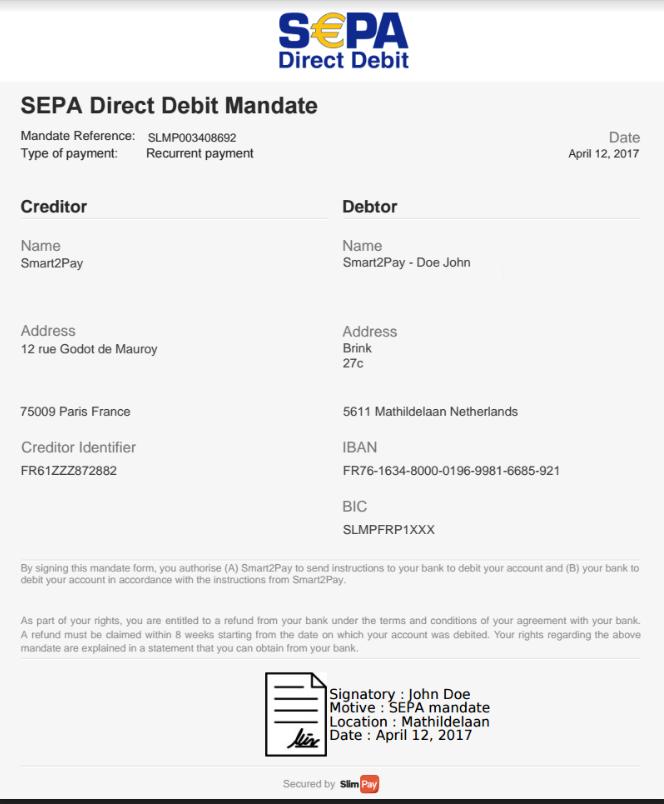 1 Received digital signed mandate