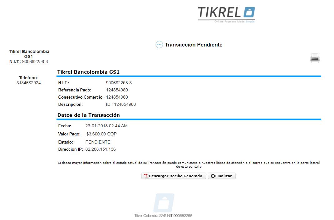 1 Payment details