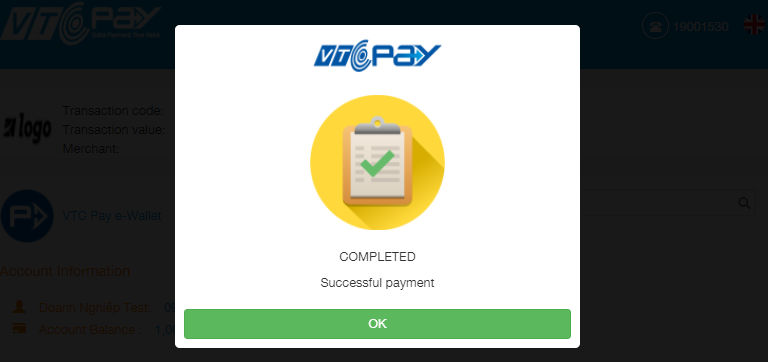 1 Payment successfully processed