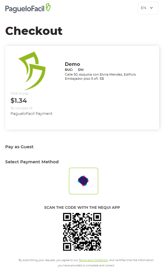 1 Payment code and details